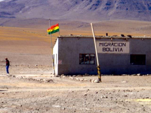 Border crossing bolivian salt flats