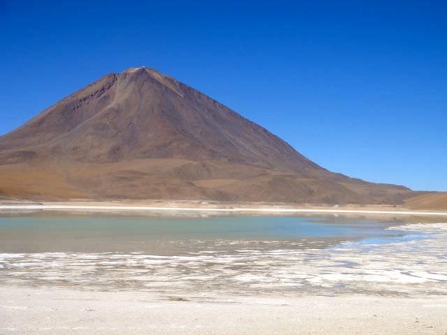 Green lagoon Bolivian Salt Flats