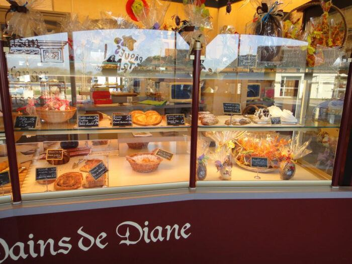 Window of a French bakery in Montsoreau