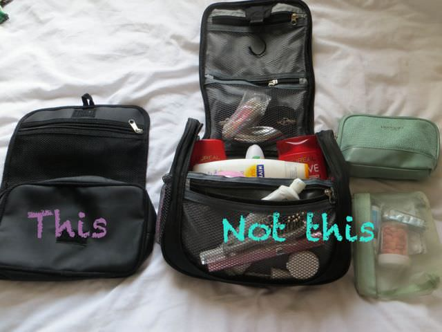 Toiletries for packing light