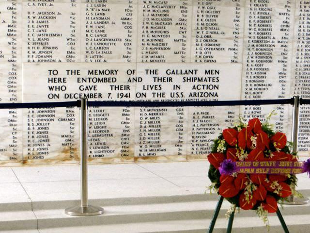 Memorial flowers USS Arizona Pearl Harbor