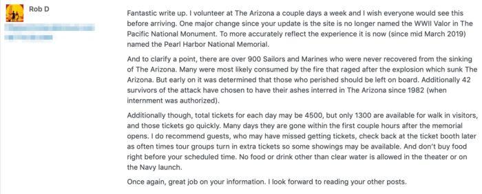 Pearl Harbor volunteer comment inside information