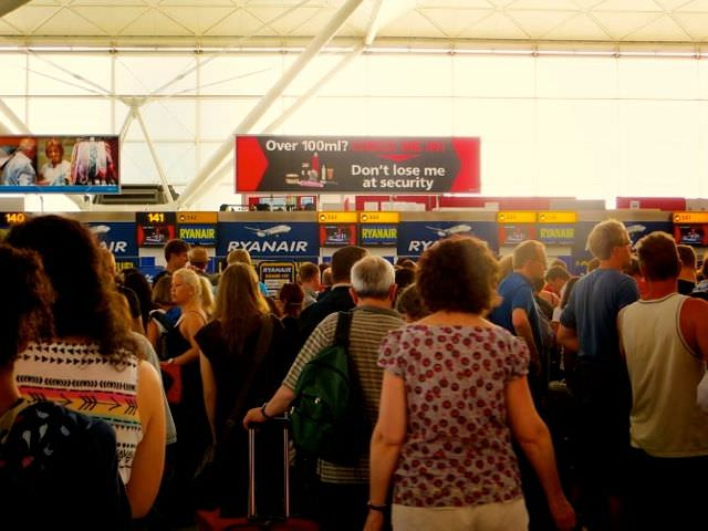 Crowds at the airport - not low season