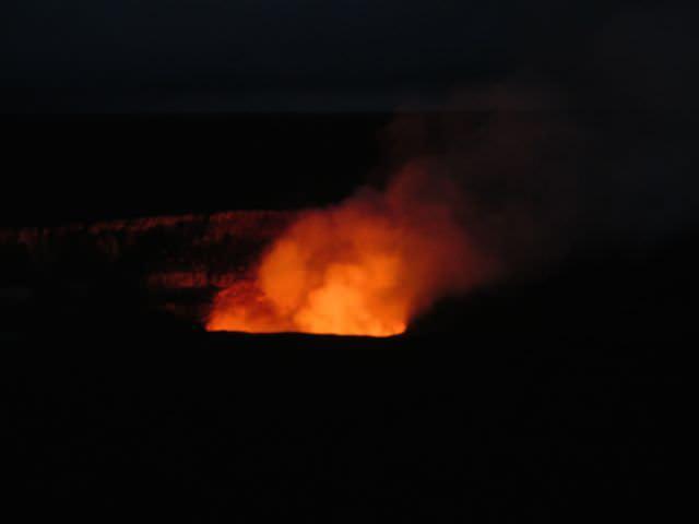 Halemaumau Overlook at night Hawaii Volcanoes National Park