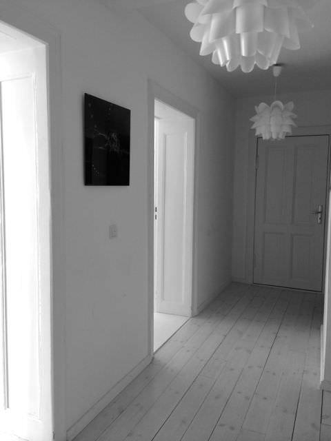 Vacation Rental Hallway Black & White