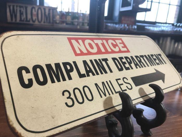 Sign Complaints Department 300 miles away