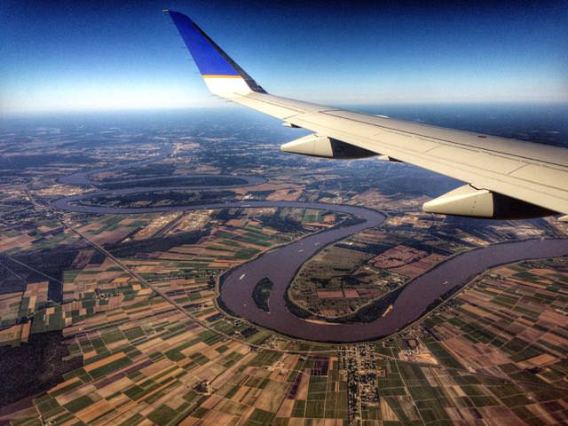 View of the mississippi river from the air