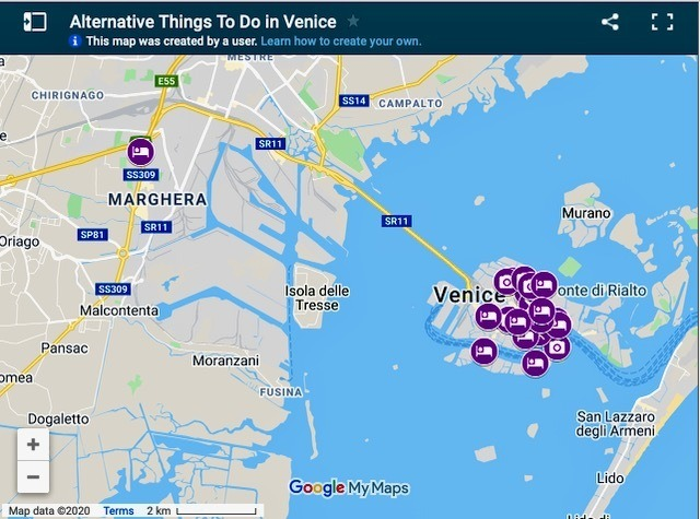 Map of things to do in Venice