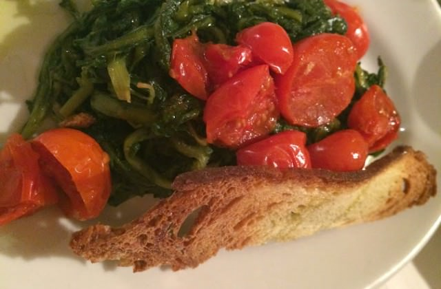 tomatoes and vegetables on bread