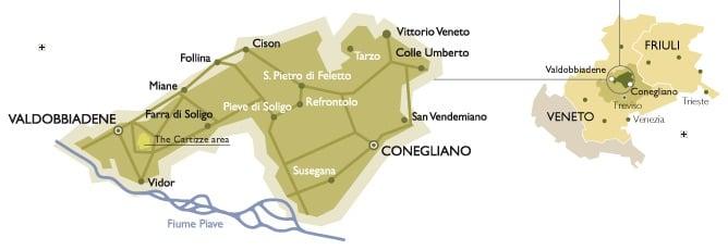 Prosecco Tour Map