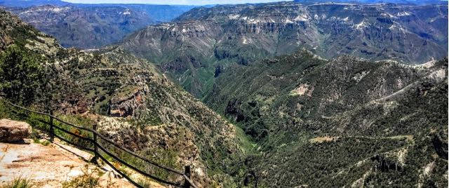 View across Copper Canyon Mexico from hotel balcony