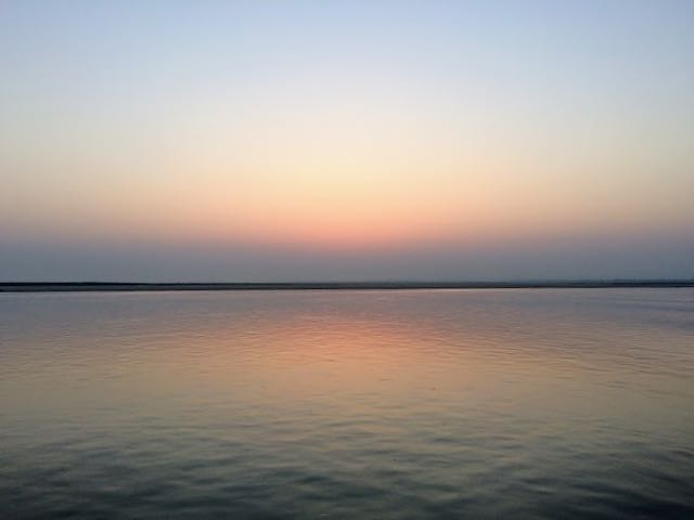 Taking the Boat from Bagan to Mandalay start of sunrise