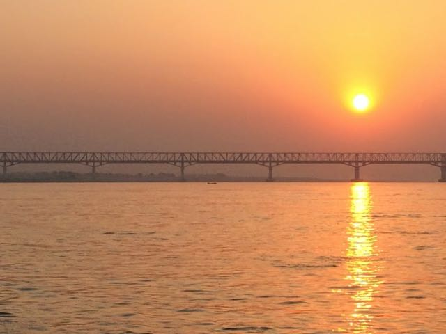 Taking the Boat from Bagan to Mandalay sun risen