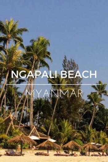 Ngapali beach with palm trees