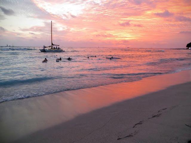 Hawaii Oahu at sunset