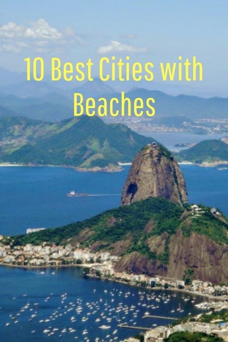 View over rio de janeiro beaches and mountains in Brazil