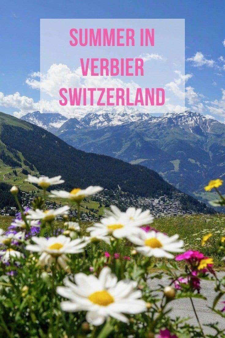 wild flowers and mountains in Verbier switzerland