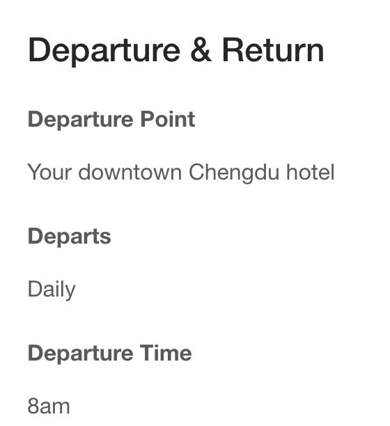 Panda tour pick up time