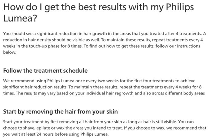 screenshot of philips website