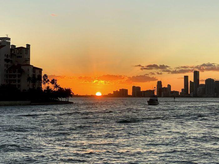 Orange sunset over miami