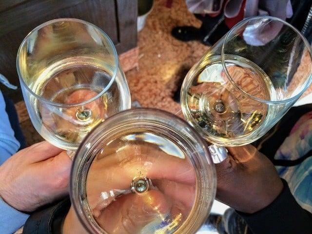 wine glasses cheers in Venice