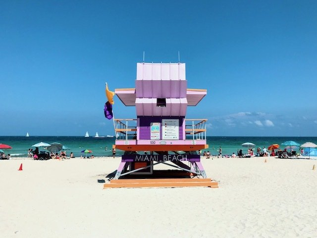 Miami beach pink lifeguard tower