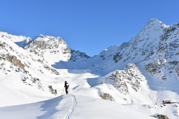 ski tour in verbier - snow and blue sky