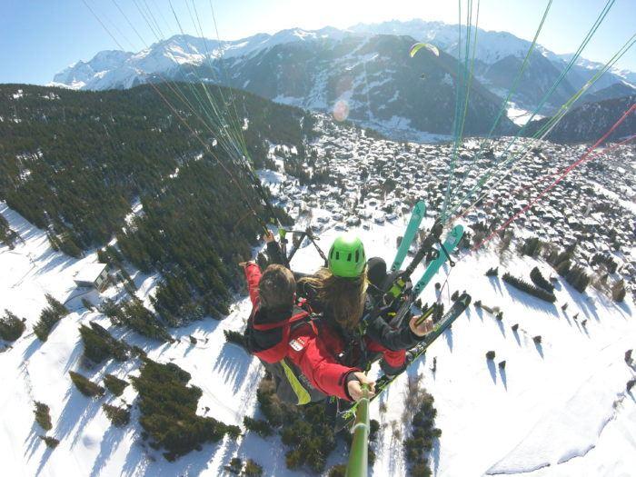 paragliding over verbier