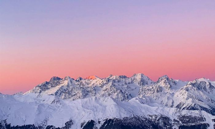 sunset over verbier mountains