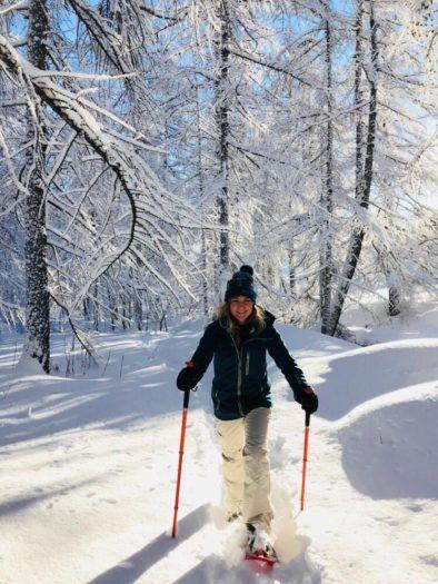 snowshoeing between the trees in Verbier