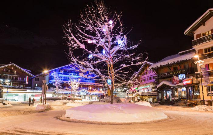 festive lights in Verbier centre in winter