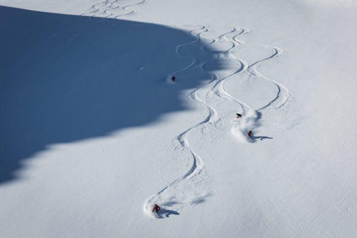 skiing after heliskiing in Verbier