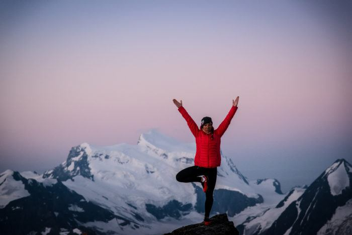 yoga on the mountain in verbier