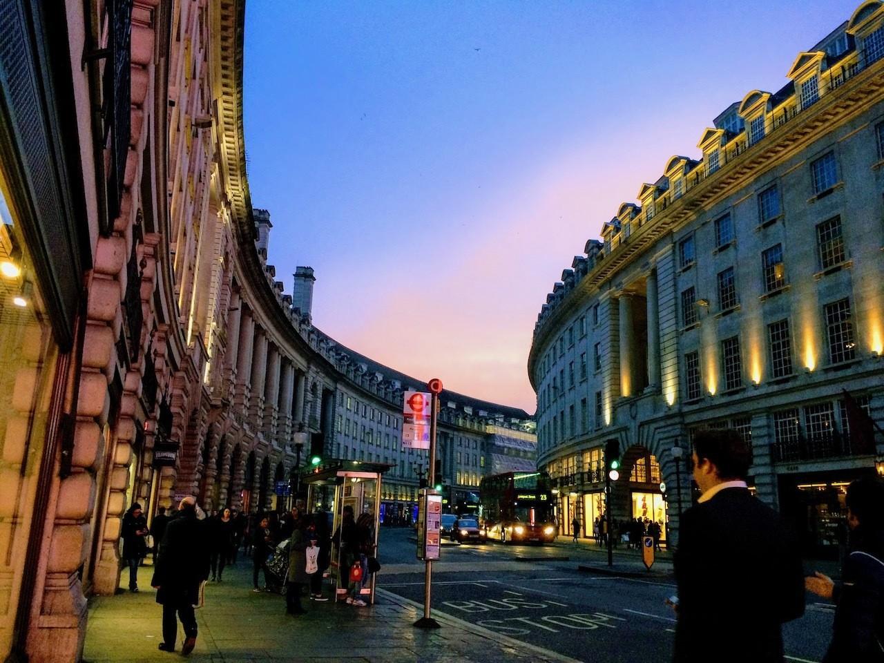 Regents Street at dusk London