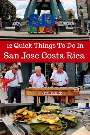 SJO sign, local band and Costa Rican food