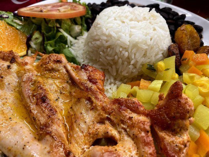 Plate of Casado typical soda food in San Jose