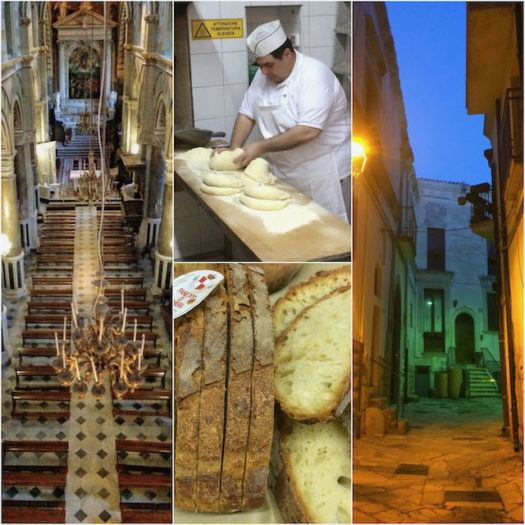 Altamura collage of Altamura cathedral old town and bread baker in italy