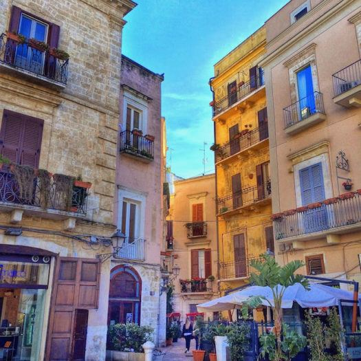 Bari old town in puglia with colourful buildings and terraces