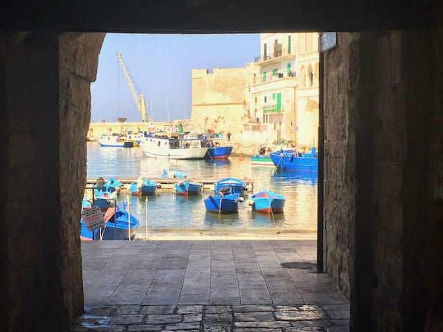 Blue boats on the water in Monopoli Puglia