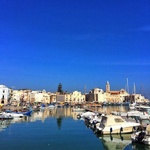 View over Trani with blue Adriatic sea and yachts
