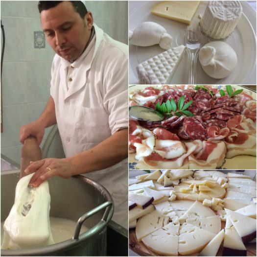 Collage of cheese making, plates of cheese and cured meats in Martina Franca Masseria Italy