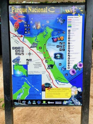 Map of Cahuita National Park Costa Rica including trails