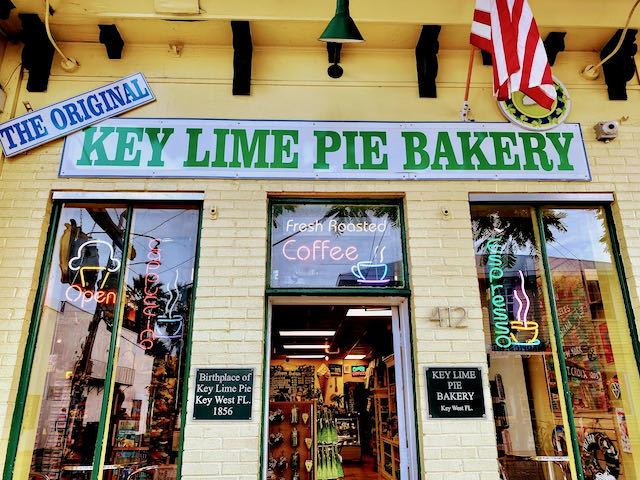 yellow building of the key lime pie bakery in key west florida
