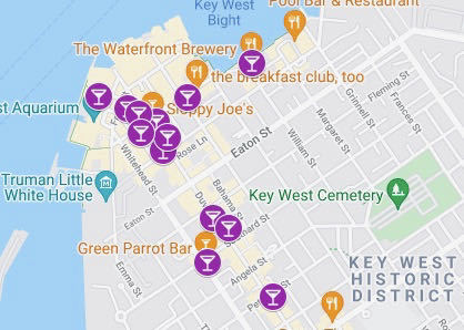 Google map of things to do in key west